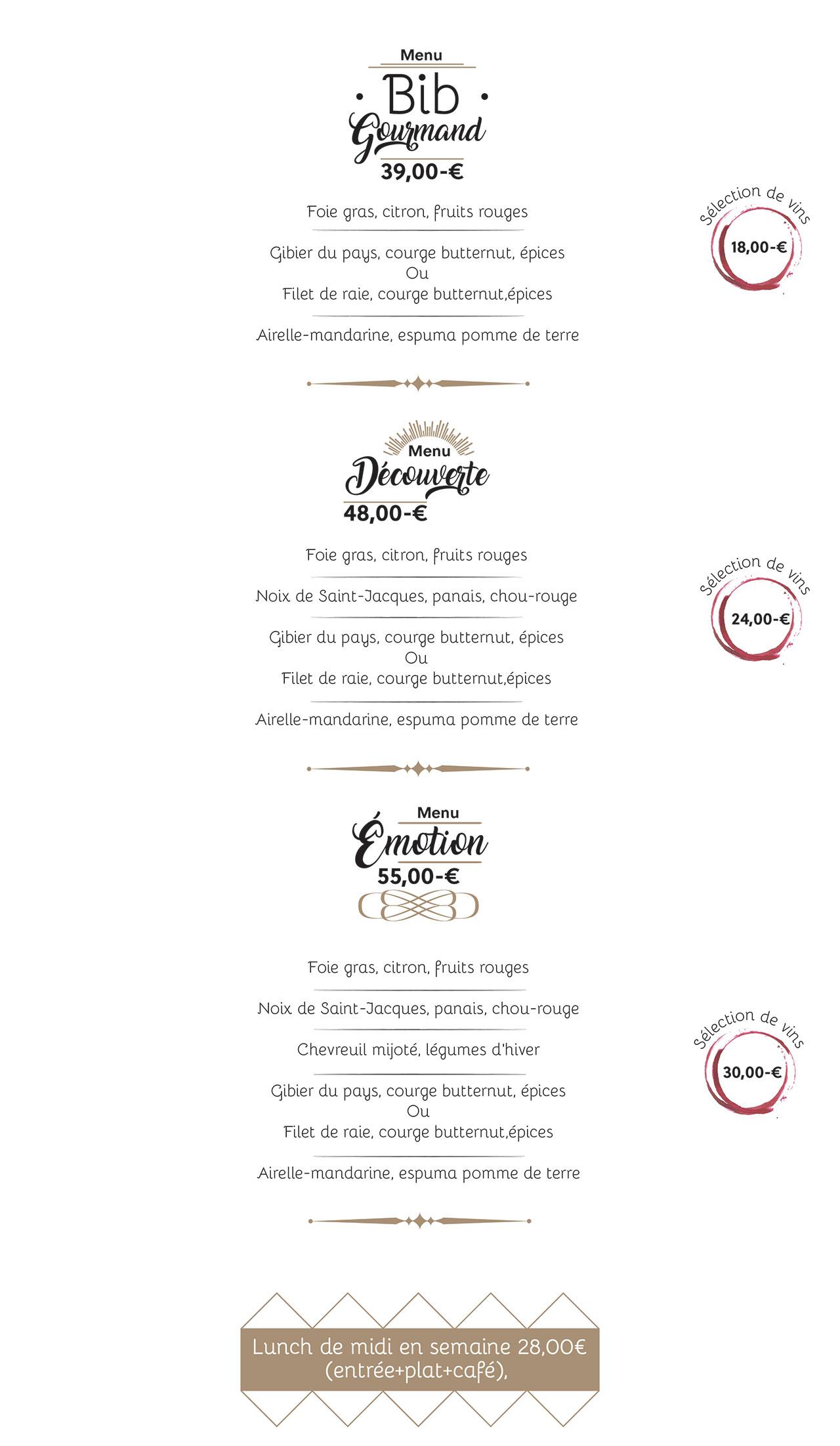 Menu Restaurant le Baragoû Marche-en-Famenne