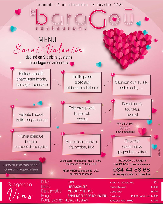 menu St Valentin Le BaraGou Marche en Famnenne